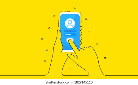 Register user online from phone. Mobile cellphone sign up password. Hand hold smartphone. Online login phone screen. Mobile user register form. Continuous line hands on yellow background. Vector