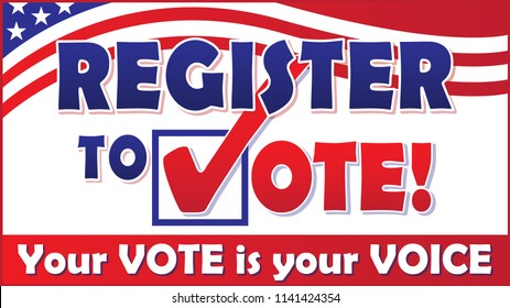Register to Vote with flag banner
