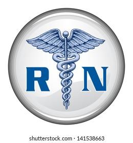 Registered Nurse Button is an illustration of a blue registered nurse medical symbol on a white button.