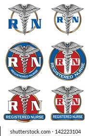 Registered Nurse Designs is an illustration of six different registered nurse medical symbol designs. Great for logos or t-shirts.