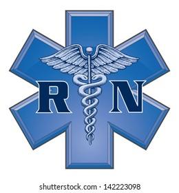 Registered Nurse Star of Life Medical Symbol is an illustration of a blue registered nurse medical design in a star of life medical symbol.