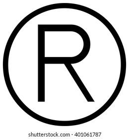 registered sign, black vector icon.