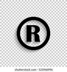 Registered Trademark - black vector  icon with shadow