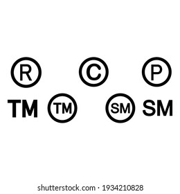 Registered Trademark Copyright Patent and Service Mark Icon Set