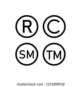 Registered trademark ,Copyright, smart mark icons set