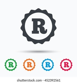 Registered trademark icon. Intellectual work protection symbol. Colored flat web icon on white background. Vector