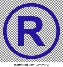 Registered Trademark sign. Blue icon on transparent background.