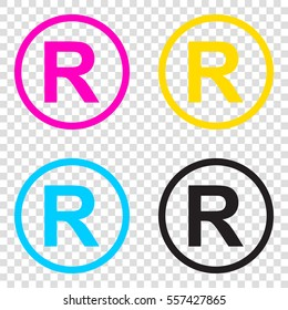Registered Trademark sign. CMYK icons on transparent background. Cyan, magenta, yellow, key, black.
