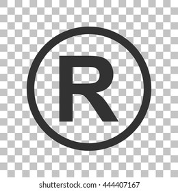 Registered Trademark sign. Dark gray icon on transparent background.