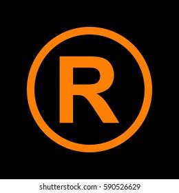 Registered Trademark sign. Orange icon on black background.