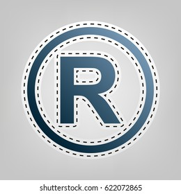 Registered Trademark sign. Vector. Blue icon with outline for cutting out at gray background.