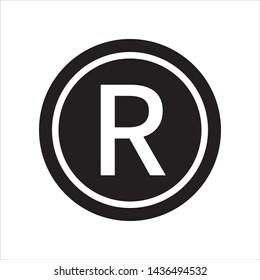 Registered trademark symbol and icon in trendy flat style design. Vector graphic illustration. Suitable for website design, logo, and ui. EPS 10.