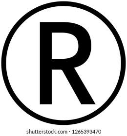 Registered trademark symbol isolated black vector stock vector