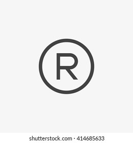 Registered Trademark symbol isolated on grey background. Vector illustration, EPS10.
