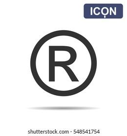 Registered Trademark symbol isolated on white background. Vector illustration, EPS10