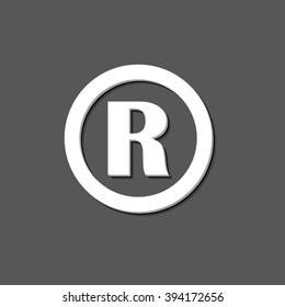 Registered Trademark - white vector  icon with shadow