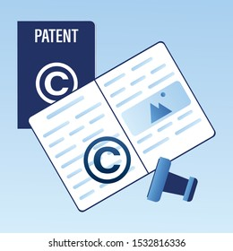 Registration Copyright Patent Copyright. Patent Office, Bureau banner. Legal consultation. Intellectual property defence. Authorship protection Service. Copyright stamp.Trendy vector illustration
