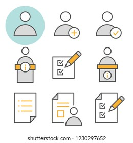 Registration flat line icons. Set of new, user, subscribe, register, order and more. Editable Stroke. Change to any size and any colour.