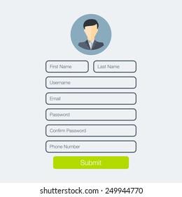 Registration form. Vector illustration