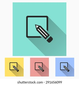 Registration icon with long shadow, flat design. Vector illustration.