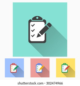 Registration  - icon with long shadow, flat design. Vector illustration
