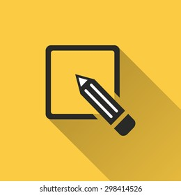 Registration  icon with a long shadow on a yellow background. Vector illustration.