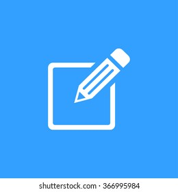 Registration  icon  on blue background. Vector illustration.