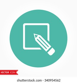 Registration  icon  on green background. Vector illustration.
