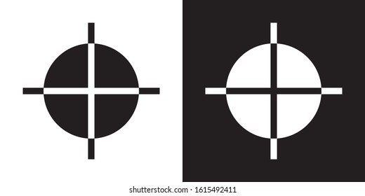 Registration Mark. Glyph Icon in White and Black Version.