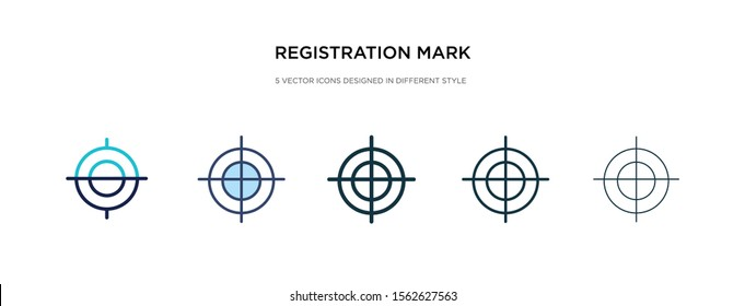registration mark icon in different style vector illustration. two colored and black registration mark vector icons designed in filled, outline, line and stroke style can be used for web, mobile, ui