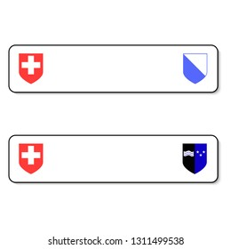 Registration plates vechicle registration plates of Switzerland with different signs. EPS 10