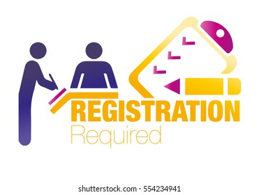 Registration Required, form, vector, register is the action or process of registering or of being registered
