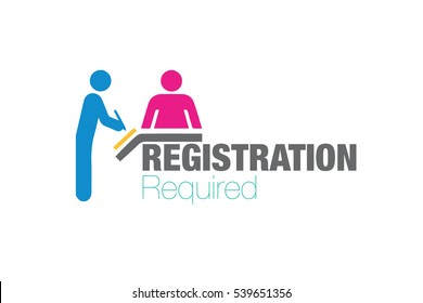 Registration Required, sign blue man and pink woman in registration counter to fill forms, vector on white