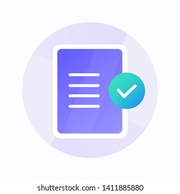 Registration security flat icon with gradient style. Check list success icon for business and presentation