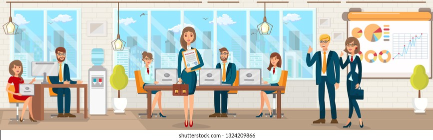 Registration Vector Flat Office with People Registering Various Subjects Firms. Girl in Red with Laptop. Woman with Portfolio. Company Helps Register. Filling Out Documents Preparing High Quality.