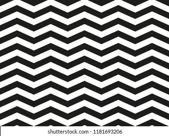 Regular black and white loosy zigzag chevron pattern, seamless zig zag line texture abstract geometry background