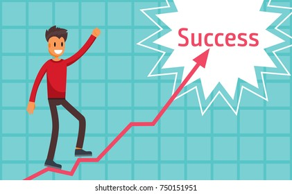 Regular Employee Walks the Steps to Success. Guy in Casual Clothes Climbs the Stairs. Worker Accomplishes a Task Concept Illustration Flat Vector Art Design