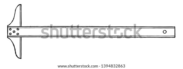 Regular Fixed Head T Square Perfectly Stock Vector (Royalty
