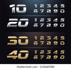 Regular and italic set of metal number. Typography silver and gold numbers. 1, 2, 3, 4, 5, 6, 7, 8, 9, 10. alphabet typeface glowing text effect. vector illustration