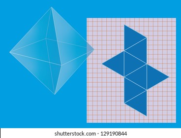Regular octahedron, polyhedron with eight faces, net on sheet. Vector