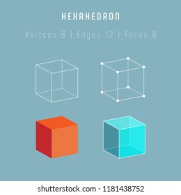 Regular polyhedron hexahedron - cube. One of platonic solids. Vector 3d icons on gray background.