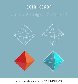 Regular polyhedron octahedron. One of platonic solids. Vector 3d icons on gray background.