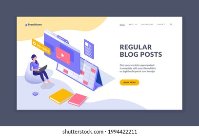 Regular posting information in blog. Woman blogger uploads new video to online channel. Social marketing to attract new viewers and subscribers. Vector isometric landing page template
