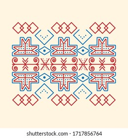 Regular red-blue pattern with a Slovak traditional motif. Folk decorative abstract pattern.