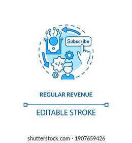 Regular revenue concept icon. SaaS benefit for developers idea thin line illustration. Monthly recurring revenue. Tiered pricing. Vector isolated outline RGB color drawing. Editable stroke