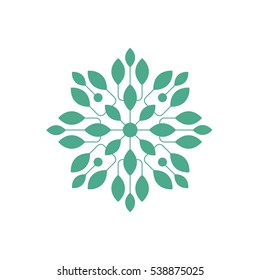 Regular Shape Doodle Ornamental Figure In In Green Color With Plant Leaves Decorative Element