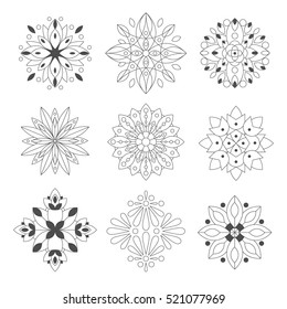 Regular Shape Doodle Ornamental Figures In Monochrome Colors For The Zen Adult Coloring Book Set Of Illustrations