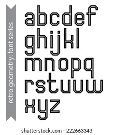 Regular stylish acute-angled geometric font with straight lines only. Sans serif black typescript.