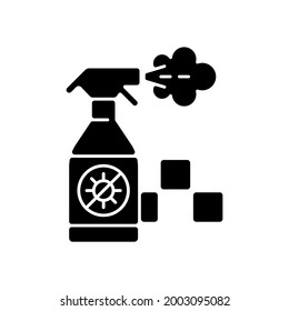 Regularly disinfected cab black glyph icon. Ensuring the safety of passengers. Sanitizer bottle. City trasport. Taxi safe service. Silhouette symbol on white space. Vector isolated illustration