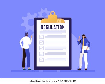 Regulation Compliance Rules Law vector illustration concept, people understanding rules with big clipboard and paper, can use for, landing page, template, ui, web, homepage, poster, banner, flyer